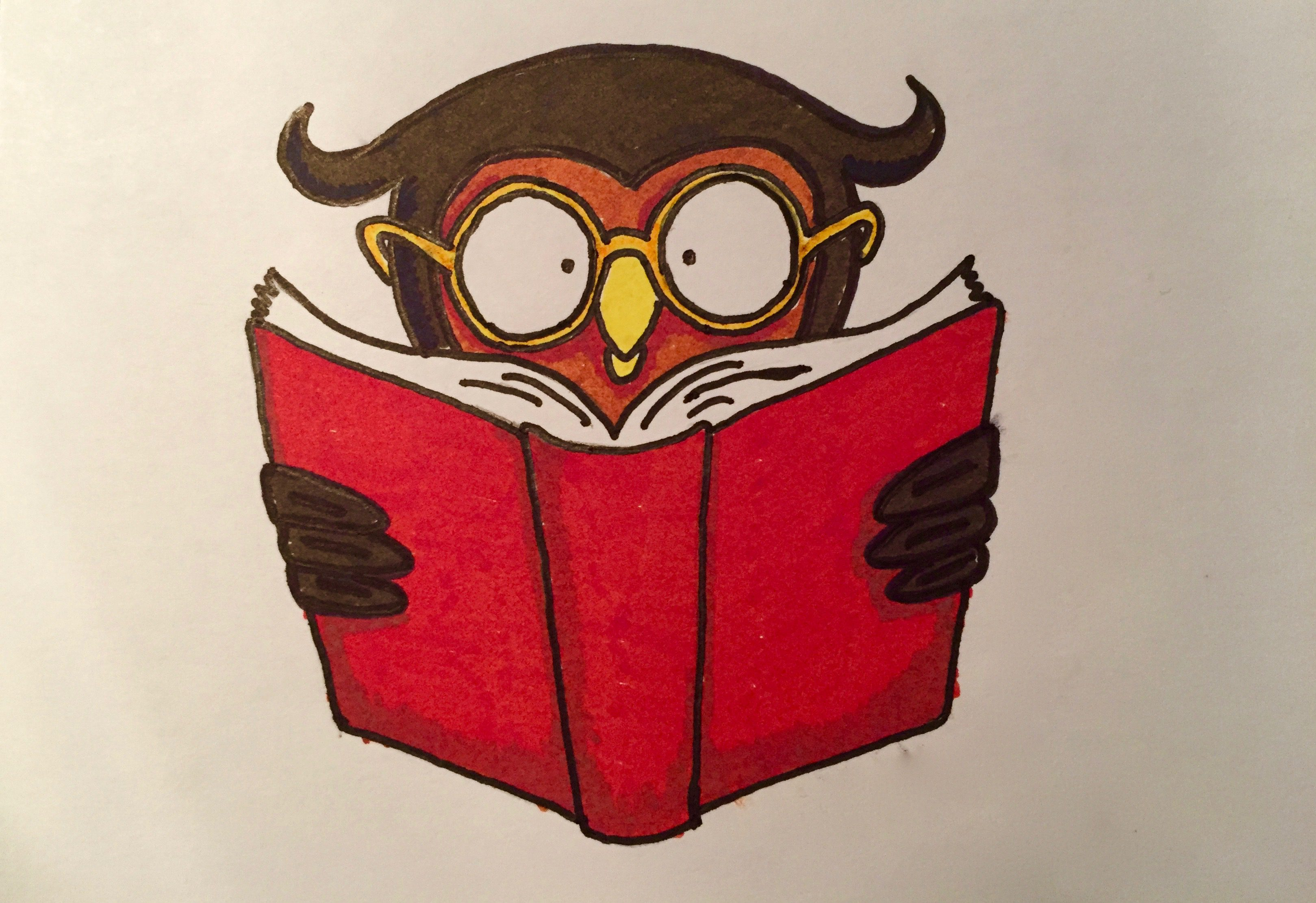 Reading Owl Easy Beginner Drawings