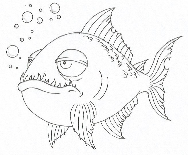 How to Draw a Piranha - Step Eight