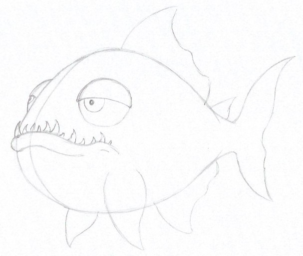 How to Draw a Piranha - Step Five