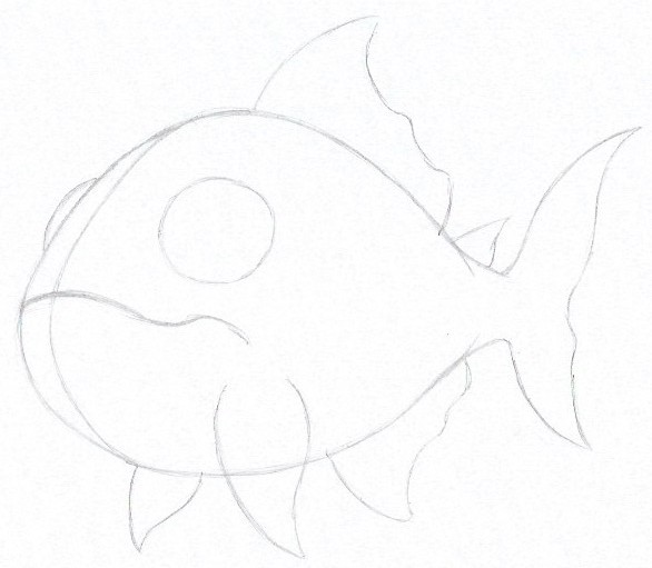 How to Draw a Piranha - Step Four