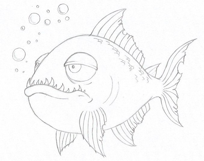 How to Draw a Piranha - Step Seven