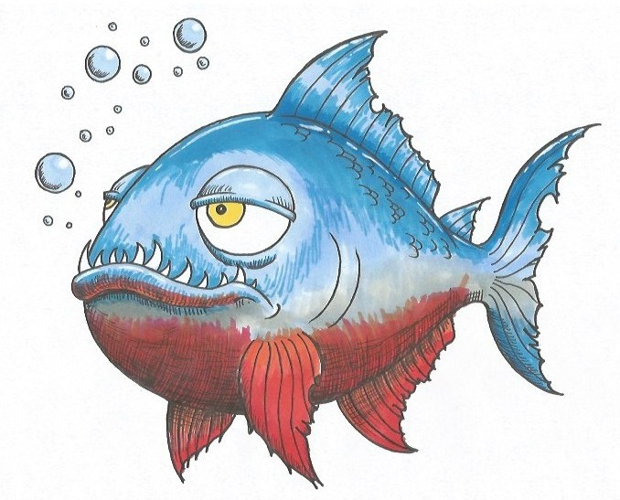 How to Draw a Piranha - Cartoon Style
